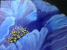 "Popping Blue - painting by Judy Fisher Walton for ""Spirited Painting"" party"