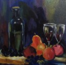 Bottles & Fruit - Acrylic painting by Carol Kable