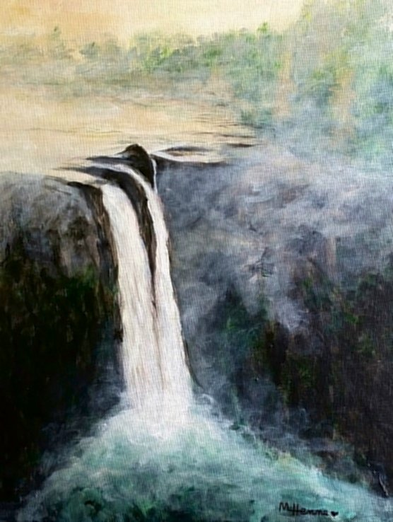 Mountain Waterfall - Henne's Spirited Painting  Parties
