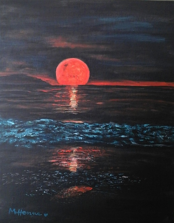 Red Moon Rising - Henne's Drafting & Art Supply's Spirited & Afternoon Painting Parties