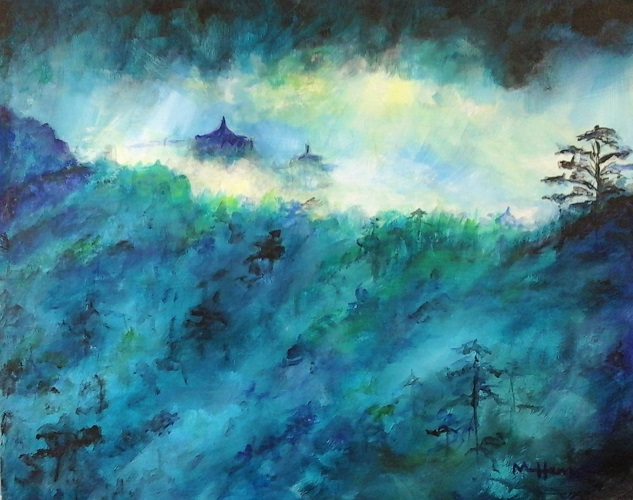 Temples in the Mist - Henne's Drafting & Art Supply's Spirited & Afternoon Painting Parties