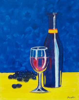 Wine Bottle with Glass & Grapes - Henne's Spirited Painting Parties