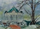 Central Park Gazebo in Winter - Mixed Media painting by Sara Zeigler