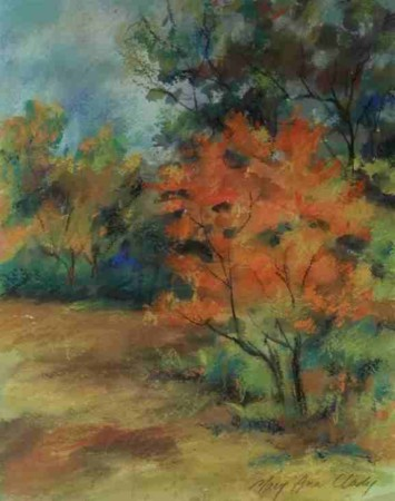Fall Woods -  Mixed Media landscape by Mary Ann Clady