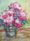 Bucket of Peoinies - Watercolor painting by Mary Ann Clady