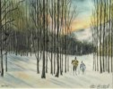 Cross Country Skier - Limited Edition Print of Watercolor by Ari Eickert