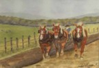 Plow Horses - Limited Edition Print of Watercolor by Ari Eickert
