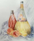Bottles and Fruit - Watercolor painting by Ruth Etzwiler