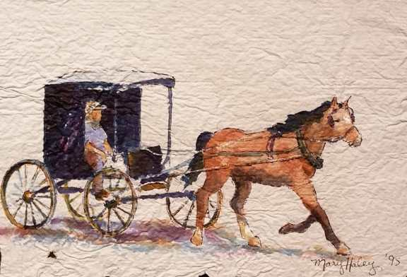 Cart & Horse - Watercolor painting on hand mande paper by Mary Haley-Rocks