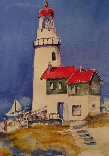 Lighthouse - watercolor print by Mary Haley-Rocks