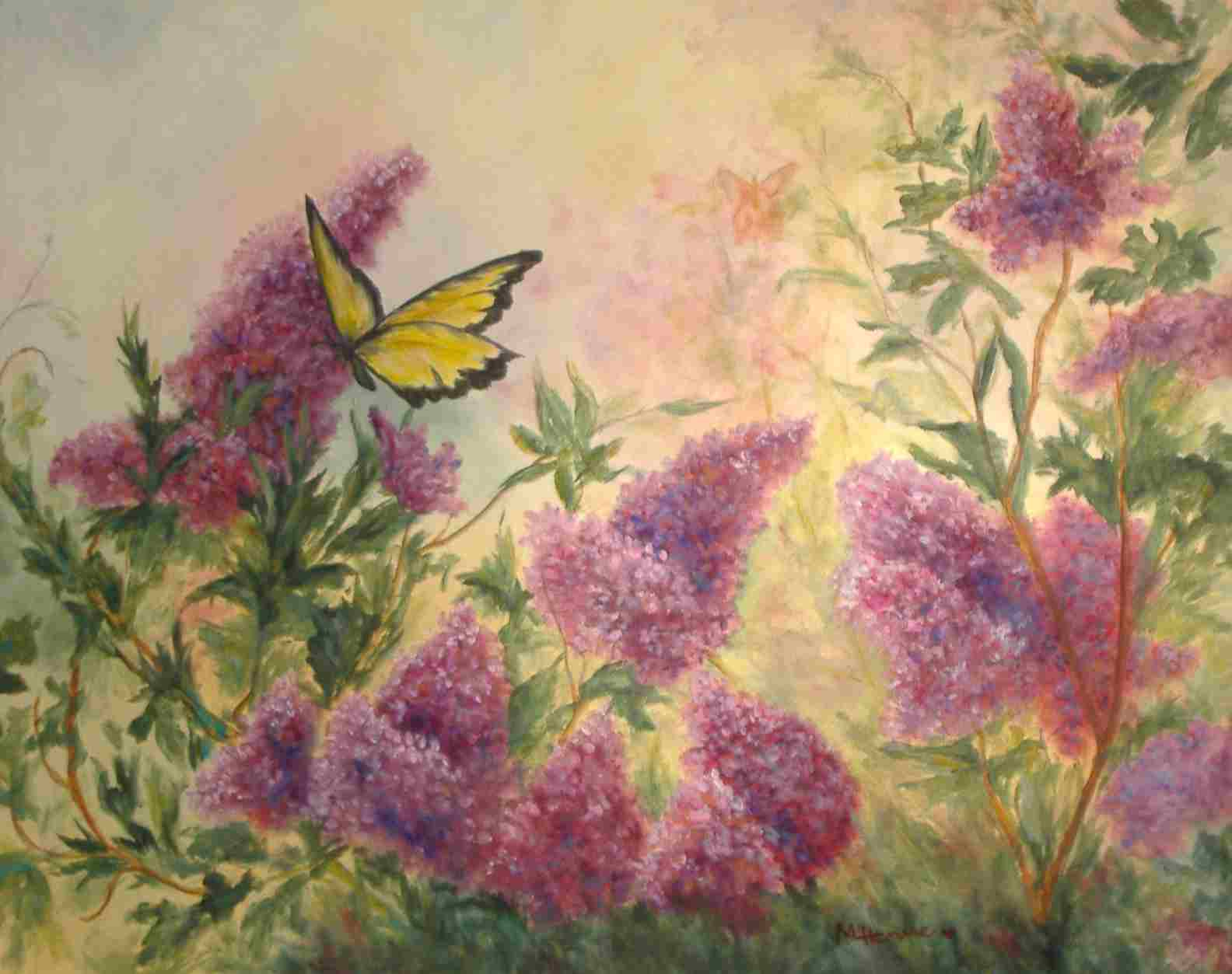 Lilacs & Butterflies - Oil painting by Mary Lou Henne
