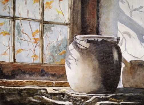 Crock in Sunlight - Acrylic painting by Mary Henne