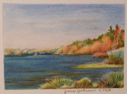 Autumn Trees - Colored Pencil drawing by Jane Jonhnson