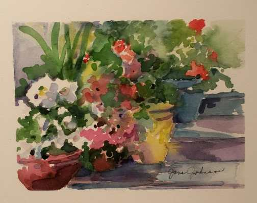 Flowers on the Back Porch - Watercolor by Jane Johnson