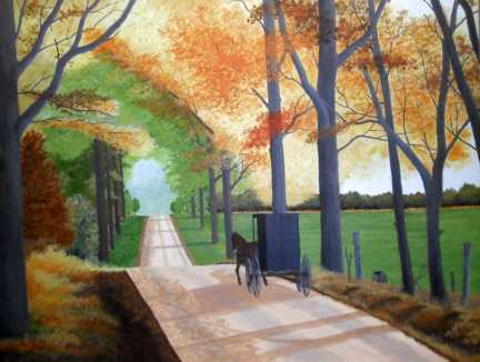 Fall Road - Acrylic painting by Dale Lewis