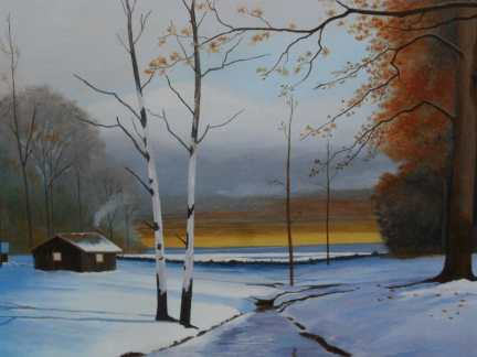 Winter Sunrise - Acrylic painting by Dale Lewis