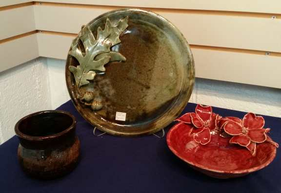 Small jar, Plate with Oak Leaves, Bowl with Dogwood - Ceramics by Carol Miller