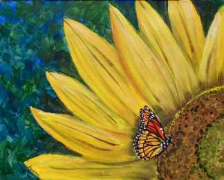 Sunflower with Butterfly - Henne's Afternoon Painting Parties