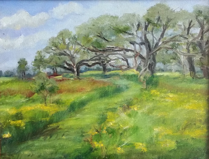 Spring in Daghmar Savannah - Oil painting by Peg Vasil