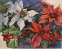 Poinsettias with Gifts - Watercolor by Judy Fisher Walton