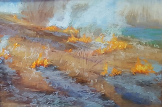 Burn #2 - Pastel painting by Sharon Weaver