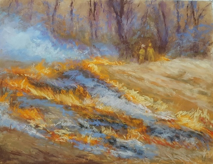 Prairie Burn - Pastel painting by Sharon Weaver