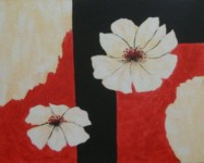 White Flower Abstract - Spirited Painting