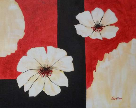 White Flower Abstract - Henne's Spirited Painting Parties