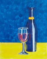 Wine Bottle & Glass - Spirited Painting